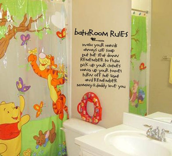 Mommy and daddly love you bathroom rules kids by for Rules of good bathroom design