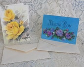 1950's Hallmark Blank Cards Unsigned Thank you and Any Occasion Yellow Roses Pink and Purple Roses