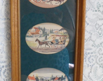 Horse and Carriage Framed Picture Vienna Art Company Set Of Three Matted Vintage decor Cottage Chic