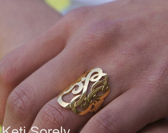 """Large Monogram Ring 1""""- Personalized Initial Ring In Sterling Silver, Solid Gold, Yellow Gold, Rose Gold, White Gold, Statement Ring"""