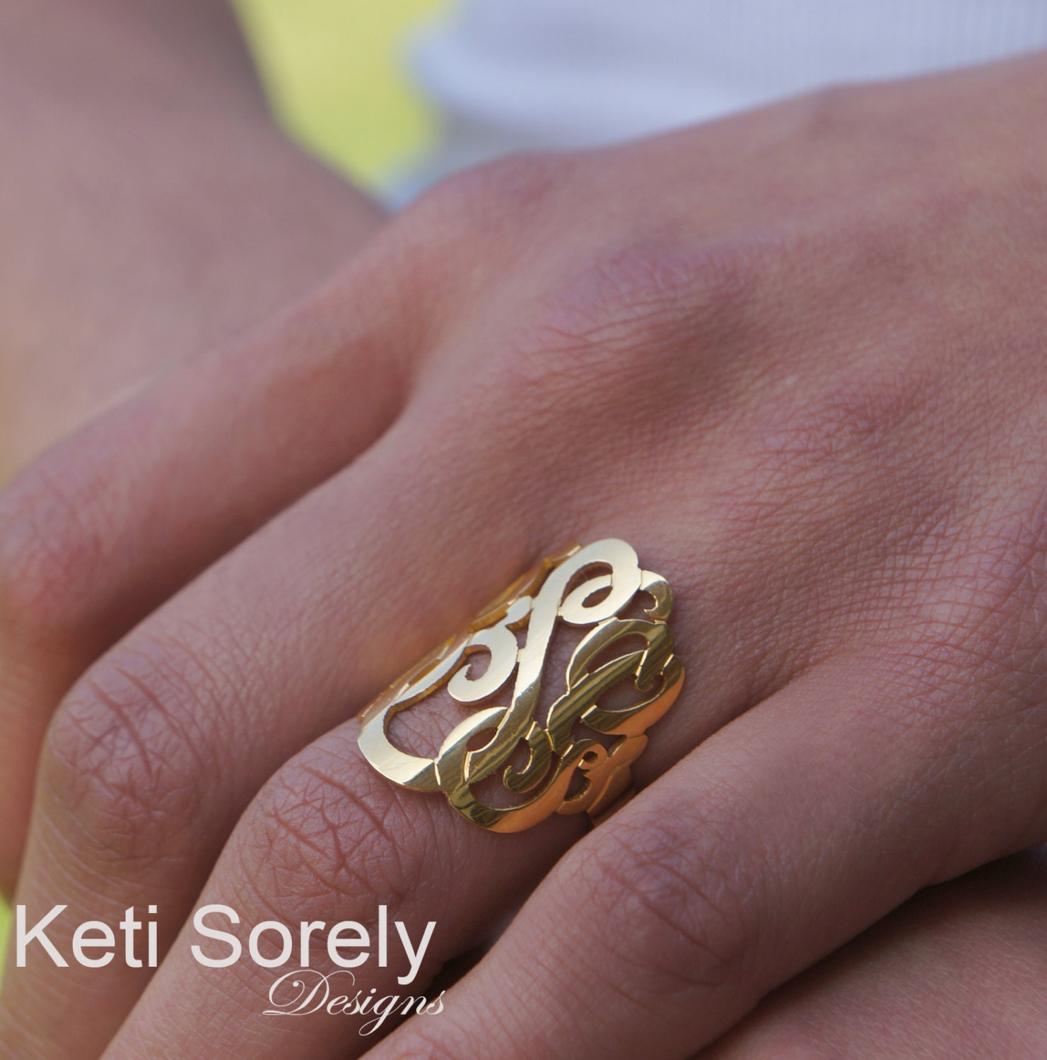Etsy Monogram Silver Ring