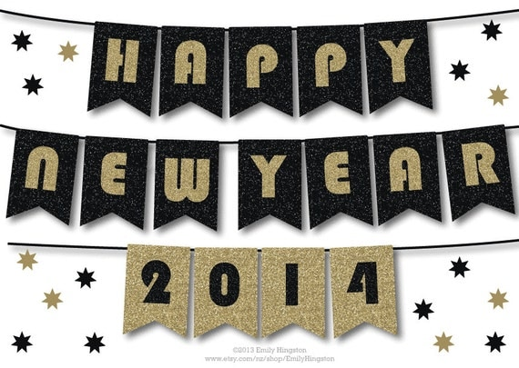HAPPY NEW YEAR Banner, Printable Decoration, Black and Gold Sparkly ...