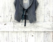 Upcycled Sweater Vest- Recycled Abercrombie & Fitch Cardigan- Gray Indie Fashion- Refashioned Tie Cardigan- Present for woman