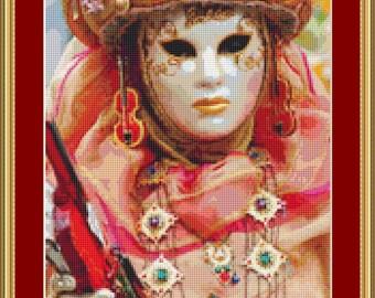 Festival Mask 3 Cross Stitch Pattern