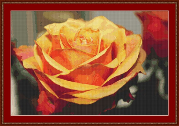 Orange Rose Cross Stitch Pattern /Digital PDF Files /Instant downloadable