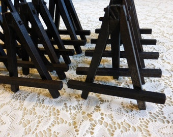 10 Small Black Wood Tabletop Easels for Miniature Art Place Cards Wedding Display Table Signs