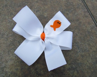 Monogrammed Embroidered Goldfish Hair Bow