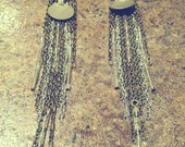 The Christine: Long Waziri Fall Earrings with Silver Glass Beads and Mixed Metal Chain - Belly Dance, Ethnic, Bohemian, Earthy Glamour