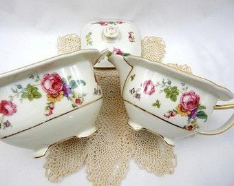 Vintage Sugar Bowl and Creamer, Thomas Ivory Serving Set Rosemont, Bavarian China