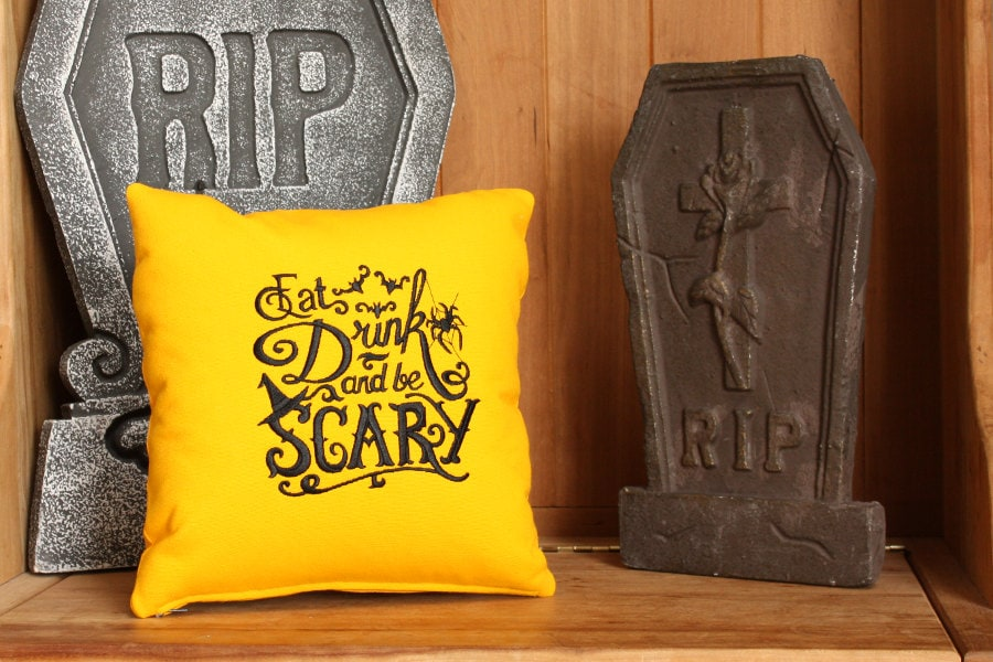 Eat Drink and Be Scary Pillow | Eclectic Halloween Decor | Spider Web Pillow | 12 x 12 inch | Insert Included | Belinda Lee Designs