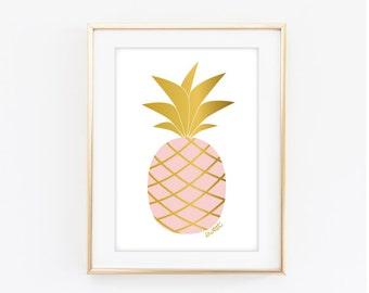 Printable Sweet Pineapple Art Print - Pink -  Digital Download