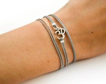 OM bracelet, wrapped bracelet with Tibetan silver Om charm, Hindu symbol, gray, gift for her, yoga bracelet, lucky charm, spiritual jewelry