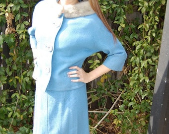 Vintage 1950's Slate Blue Wool Suit with Silver Fur Collar