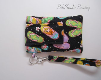 """Summer Flipflops Wristlet, Fits iPhone 4, 5 and Smartphones up to 5.25"""" x 2.75"""",  Flip Flops Cell Phone Clutch"""