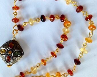 Diamond Sapphire Statement Pendant Necklace Hessonite Garnet Wire Wrapped Chain