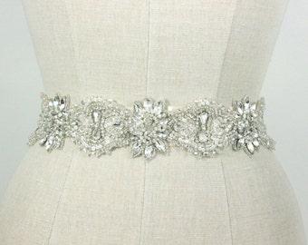 Beaded Wedding Belt Bridal Sash, Art Deco Rhinestone Crystal Ornate Floral Design Silver Accessories Old Hollywood, Camilla Christine, ASHMA