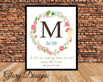 Personalized, Monogram Scripture printable, As for me and my house, Joshua 24:15, DIY, Wedding