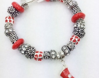 Cowboy Boot Bracelet - European Style Jewelry with red Charm