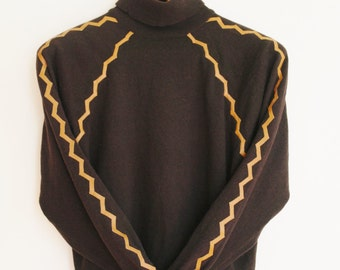 Vintage brown and leather pullover