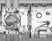 Geek Vintage Super Metroid Mother Brain Engraving Poster Museum Quality Giclèe Art Print