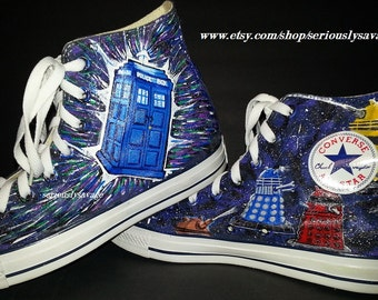 Dr. Who Time Traveling Tardis Doctor Who logo and Daleks Custom Painted Shoes Converse Vans Toms
