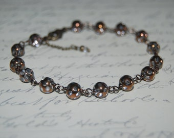Wire Wrap Style Clear - Brown Crystal Sparkle Antiqued Look Bracelet.
