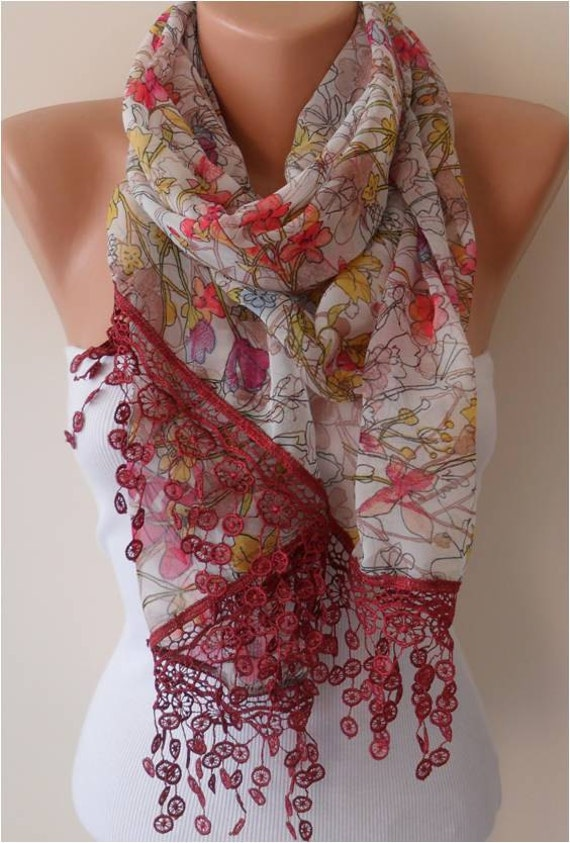 Chiffon Floral Scarf with  Lace Edge - Gift