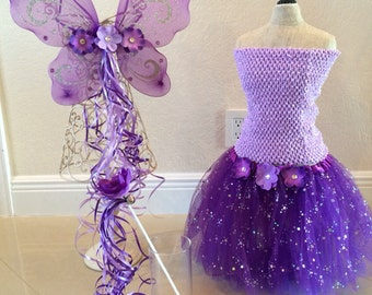 Purple tutu set, Purple tutu, Fairy Costume, Fairy Wings, Tinkerbell Dress, Tinkerbell Tutu, Tinkerbell Party Favors, Purple Fairy Tutu