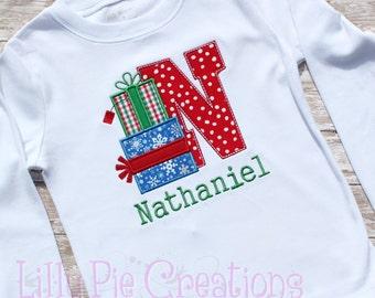 Custom Personalized Christmas Present Alphabet Applique Shirt, Girls Christmas Shirt, Boys Christmas Shirt, Baby Christmas Bodysuit