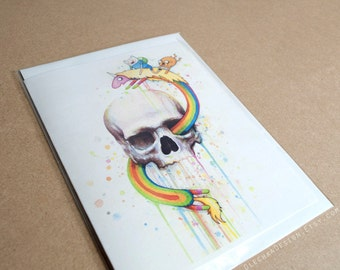 Adventure Time Folded Card Jake Finn Lady Rainicorn Funny Cartoon Skull Art Greeting Card, Blank Inside