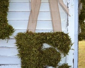 Moss Covered Wooden Letter with Natural Burlap Ribbon for Front Door Wreath or Mantel Display