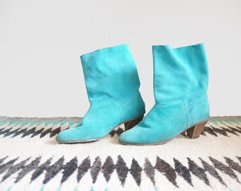 Vintage Size 8 1/2 Turquoise Leather Ankle Boots