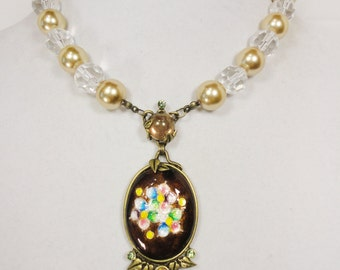 Vintage Pendant and Bead Necklace