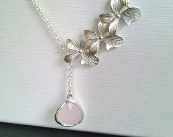 bridesmaid gift,Orchid Necklace,Flower Necklace,Orchid Jewelry,trio orchid  flower necklace, bridesmaid jewelry,flower girl gift