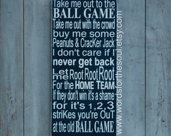 Take Me Out to The Ballgame - Baseball Wooden Sign - Sports Decor - Sports Wall Art - Baseball Wood Sign - Take Me out to the Ball Game
