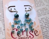 Teal pearl and crystal beaded tassel earrings by Cerise Jewelry