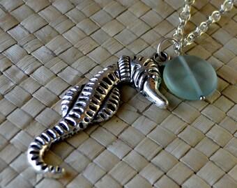 SALE Seahorse Large Silver Summer Necklace Beach Sea Glass Like Pendant Aqua Horse Seaglass Pale Long Fashion Vacation Jewelry Free Shipping