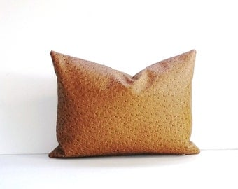 Faux Emu Decorative Pillow Cover Tan, Brown, Gold Colors 14 x 24, 12x 18, 16 x 16 Square, Lumbar, Many Sizes