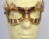 SteamOwlet Leather Gold, Bronze and Brown Steampunk Owl Cosplay Mask - PlatyMorph