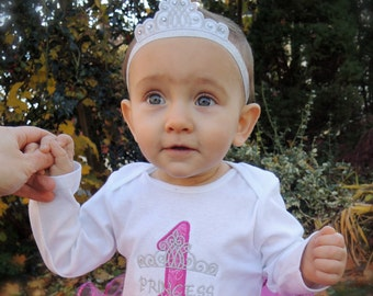 NOT-Personalized Princess Baby Girl's First Birthday Tiara Bodysuit Tutu Set 1st (2nd also available)