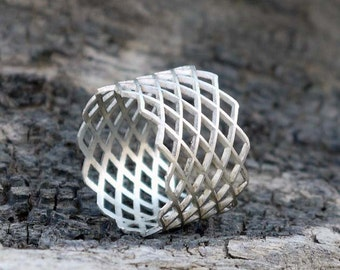 Wide band silver ring - Sterling silver grid ring - Geometric jewelry.