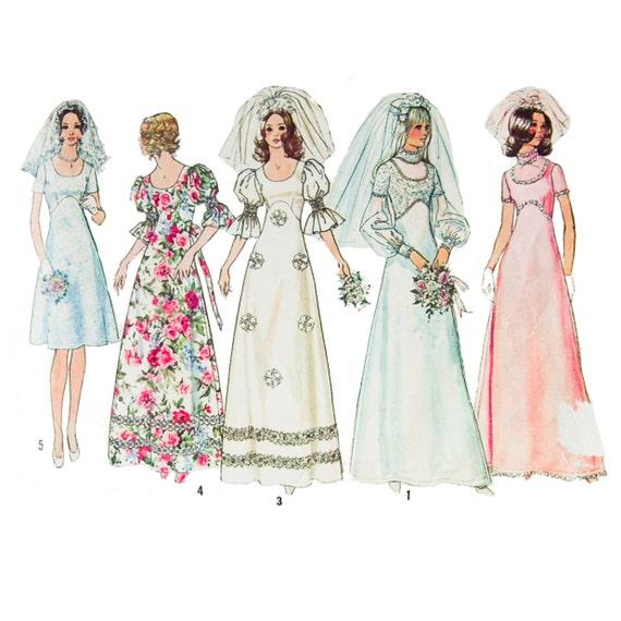 1970s wedding dress sewing pattern empire waist juliette for Empire waist wedding dress patterns