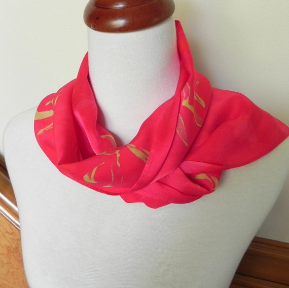 Hand Dyed Silk Scarf in Samba Red and Golden Yellow, Silk Satin,  Ready to Ship