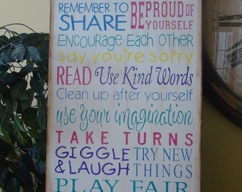 LARGE Playroom Rules Subway/Typography Word Art Sign