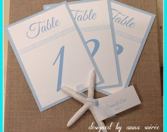 Double Layer Table Numbers with Sheer Organza Ribbon  -SET OF 10 for wedding, bat/bar mitzvah, sweet 16, any occasion