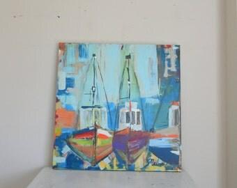 bateaux de peche gallery wrapped canvas print