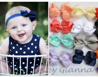 Pick Your Color Baby Bow Headband, Baby Hair bows, boutique bows, Newborn Headband, Baby Girl Headband, headbands, newborn photo prop,