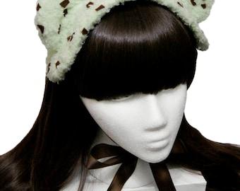 Sweet Mint Chocolate Chip Ice Cream Bear Bonnet Headdress