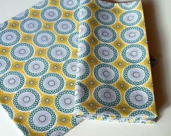 4 Yellow and Aqua Napkins//Cloth Napkins//Set of 4