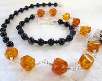 Amber and Onyx necklace